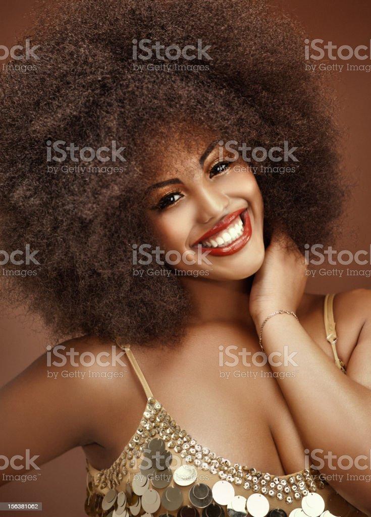 close up of happy black model stock photo