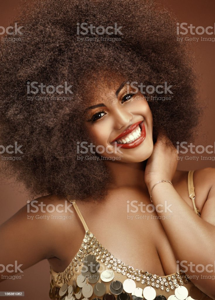 close up of happy black model stock photo