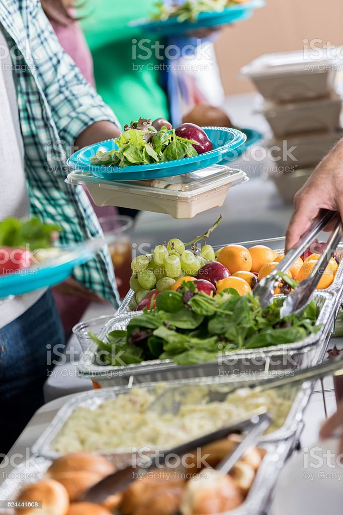 Close up of healthy food in soup kitchen stock photo