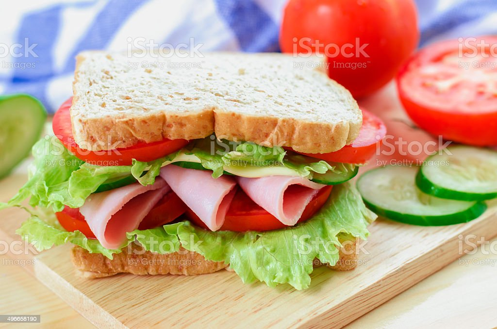 Close up of Healthy Sandwich on wooden board stock photo
