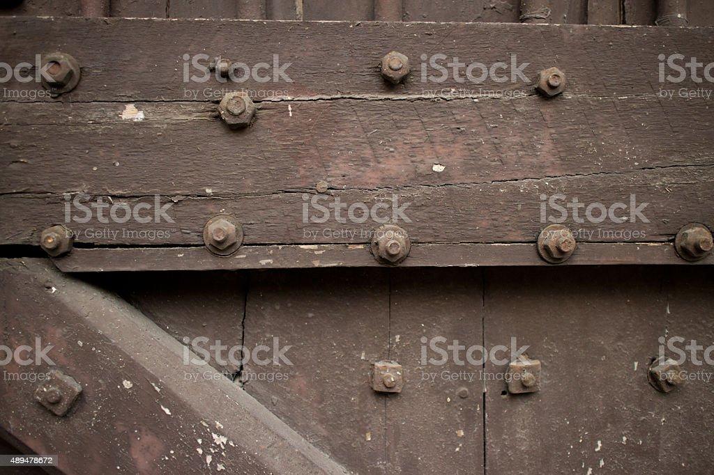 Close up of Heavy wooden door of Temple in Asia stock photo