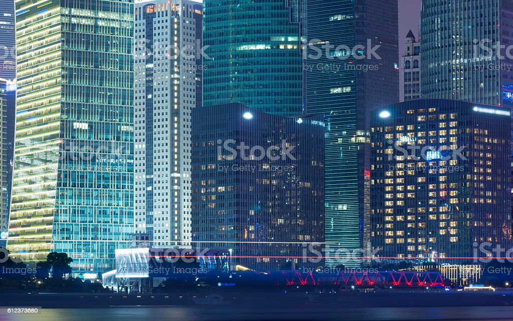 Close up of high rise at night stock photo