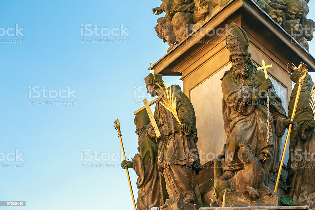Close up of Holy Trinity Column in Prague, Czech Republic stock photo