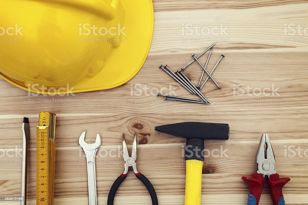 Close up of home plan with work tools stock photo