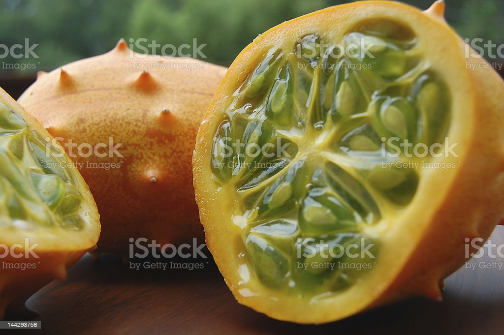 Close up of horned melons stock photo