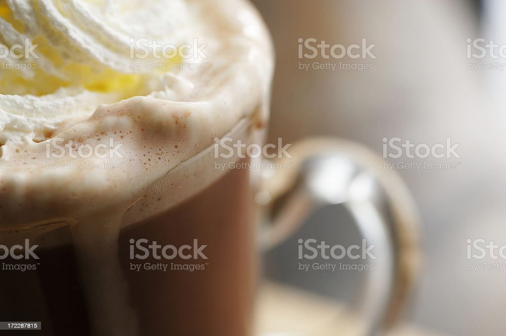 close up of hot chocolate drink topped with cream royalty-free stock photo