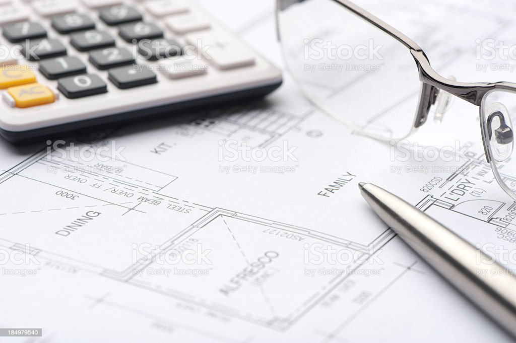 Close up of house plan blueprints royalty-free stock photo
