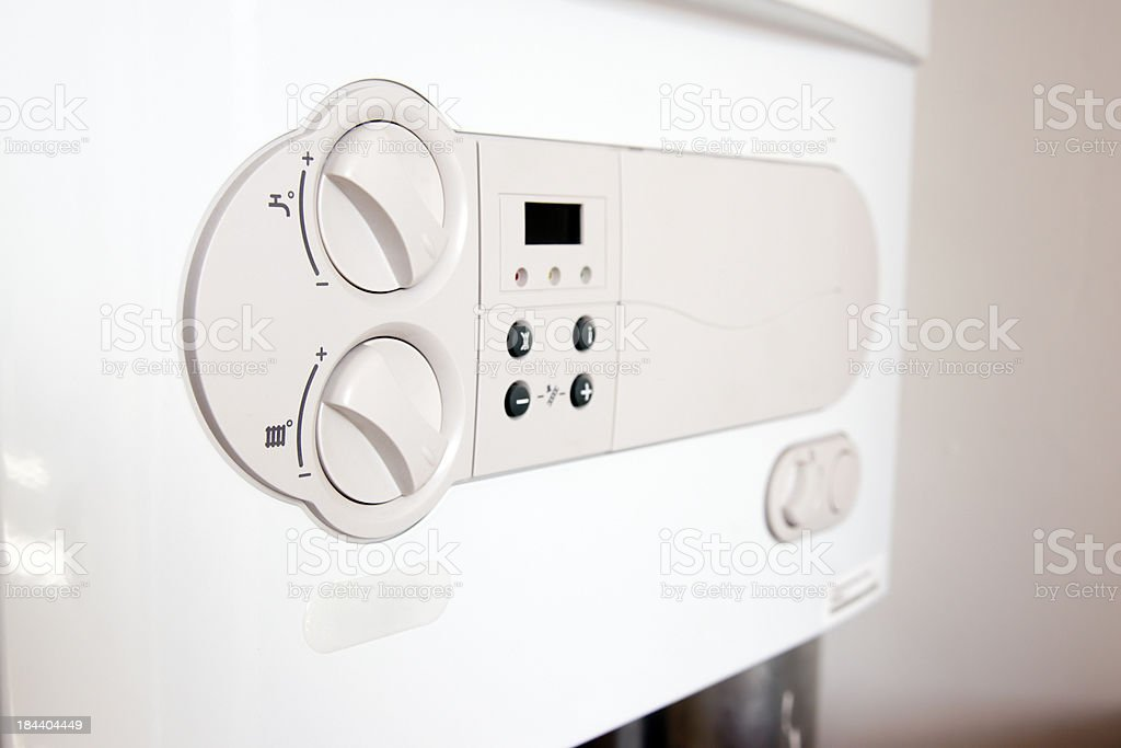 Close up of HR- gas boiler, Vaillant stock photo