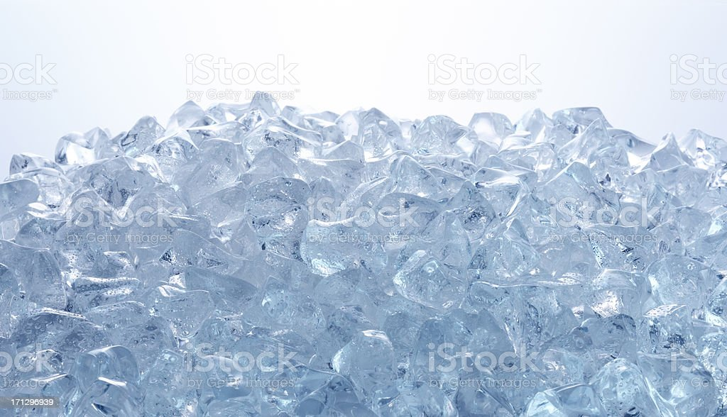 Close up of ice cubes on a plain background  stock photo