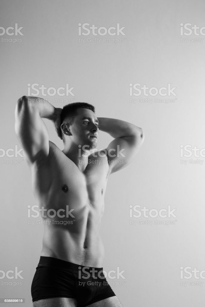 Close up of image of a handsome young sports man stock photo