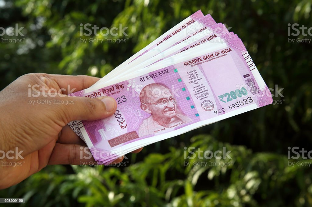 Close up of Indian 2000 rupee notes stock photo