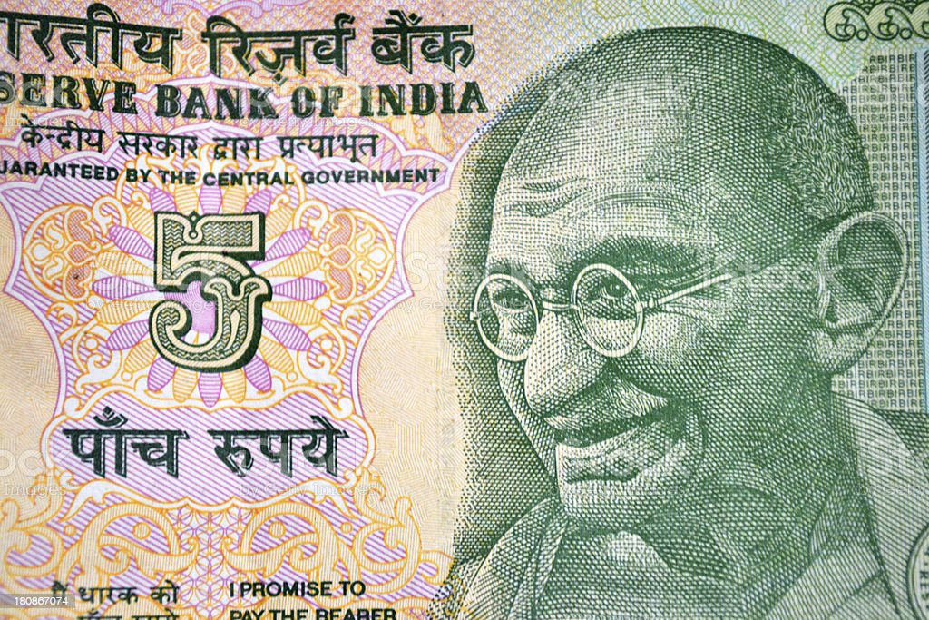 Close up of Indian currency note royalty-free stock photo