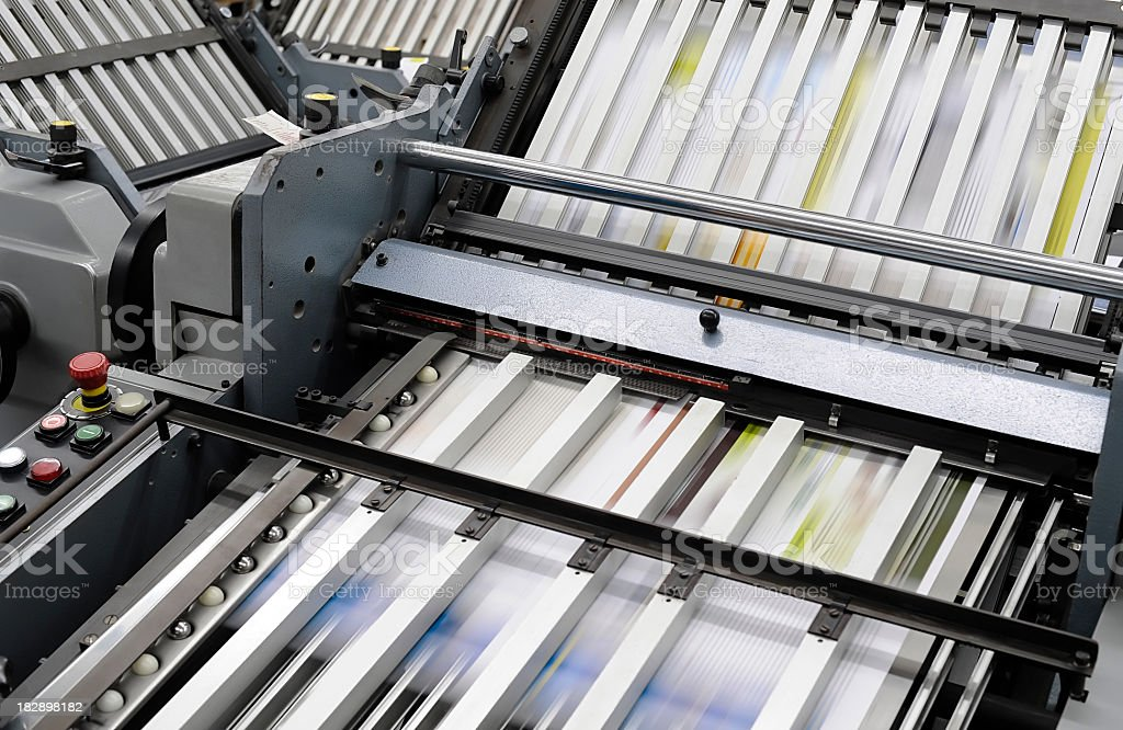 Close up of industrial printing press royalty-free stock photo