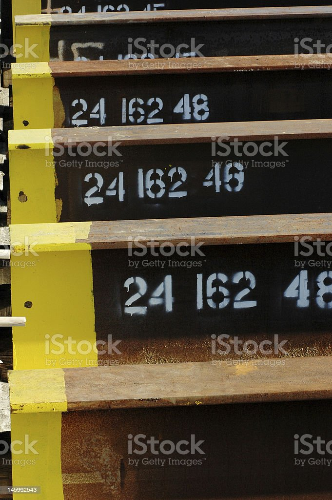 Close up of industrial steel beams stock photo