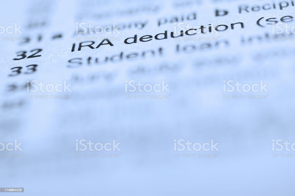 Close up of IRA deduction line 32 on form 1040 royalty-free stock photo