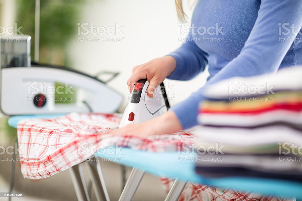 Close up of ironing stock photo