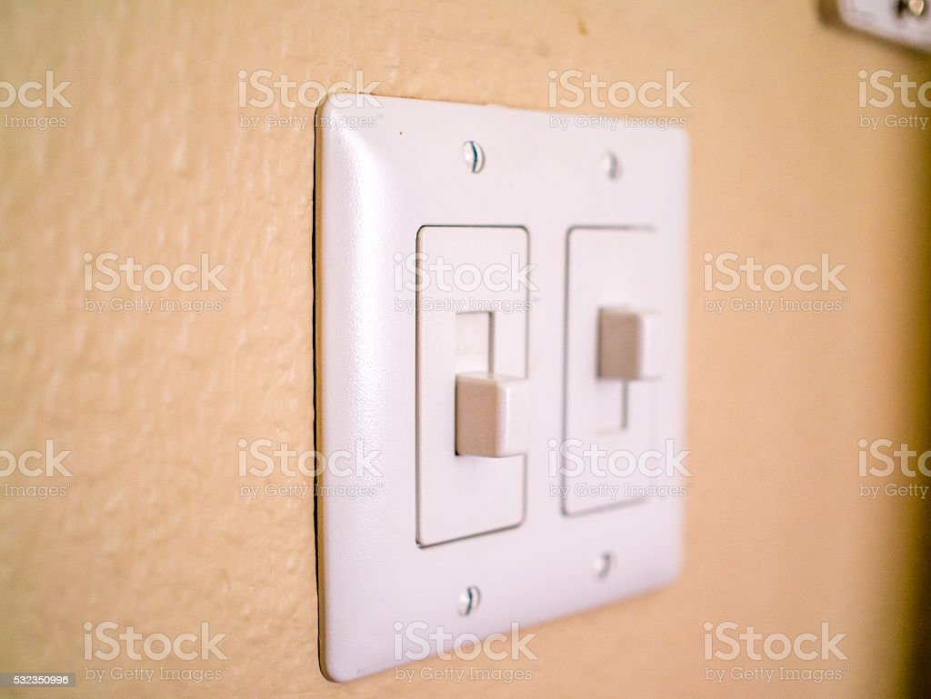 Close -up of isolated dual wall switch stock photo