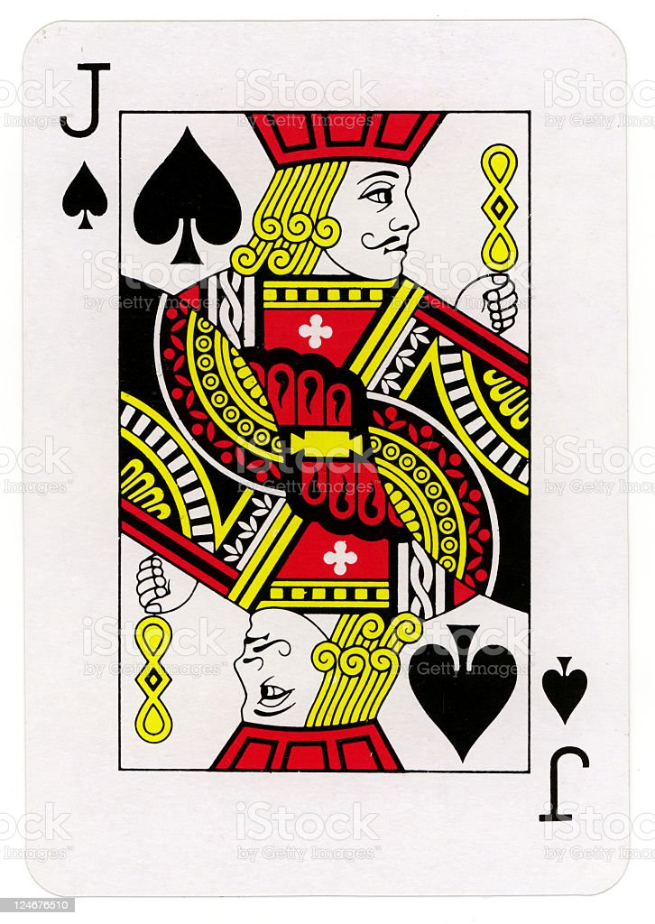 Close up of Jack of spades playing card stock photo