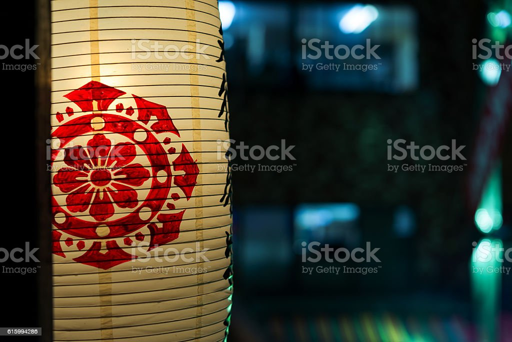 Close - up of Japanese paper Lanterns in row stock photo