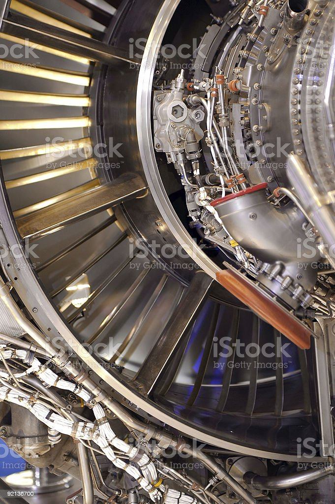 Close up of jet engine inside parts royalty-free stock photo