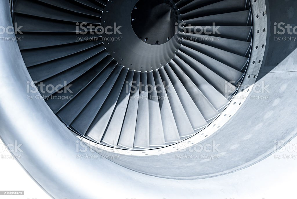 Close up of jet engine stock photo