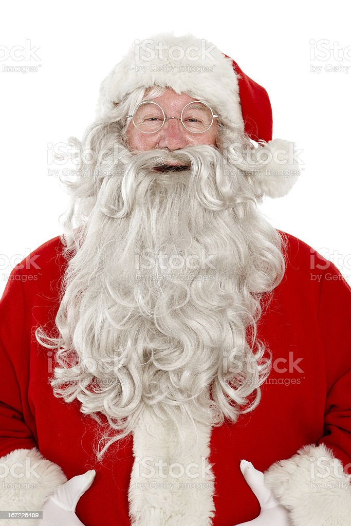 Close up of jolly laughing Santa on white background. royalty-free stock photo