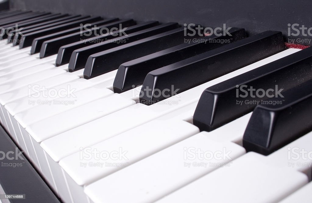 Close up of keyboard keys from lateral perspective royalty-free stock photo