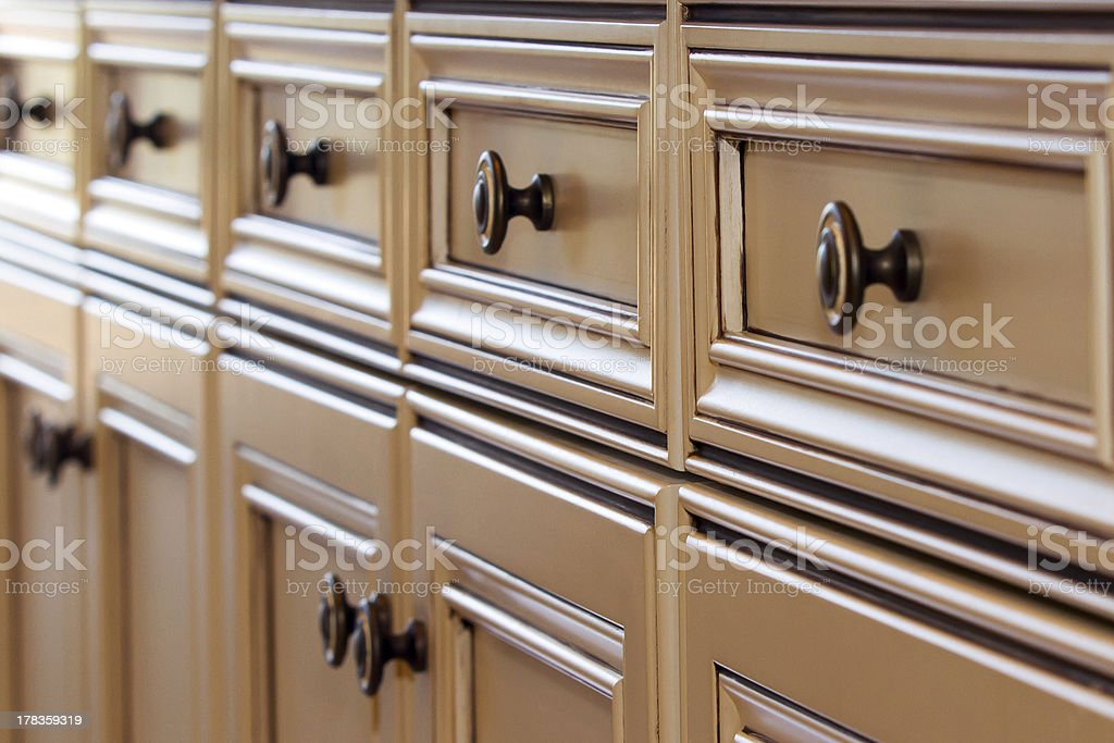 Close up of kitchen drawer pulls stock photo