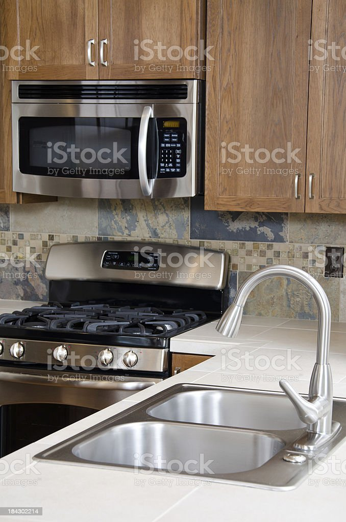 Close up of kitchen sink royalty-free stock photo