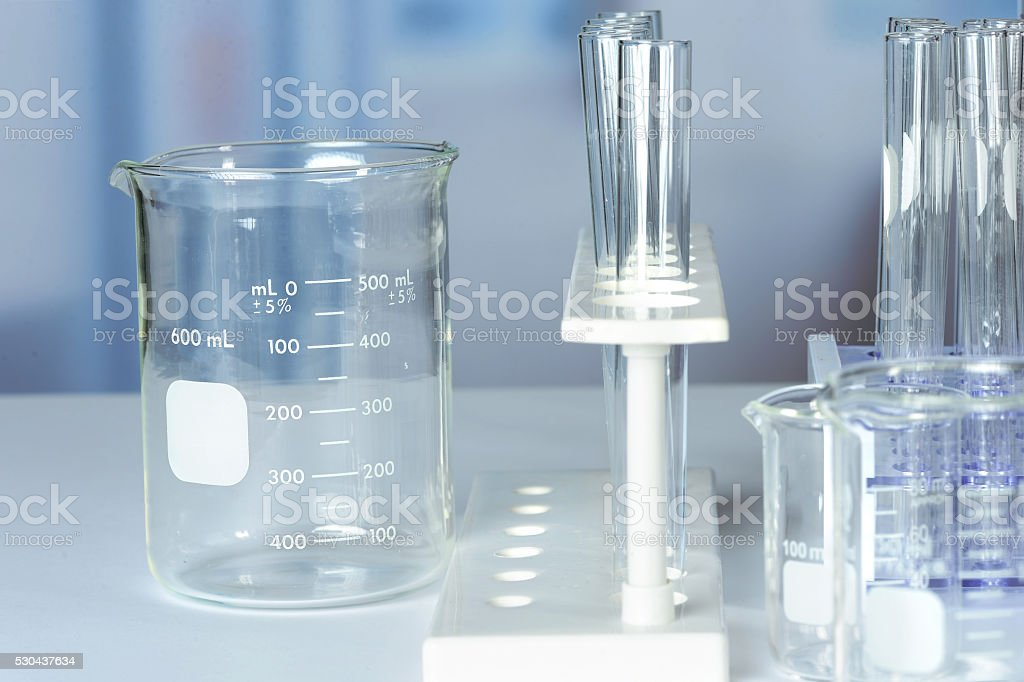 Close Up of Laboratory Glassware stock photo