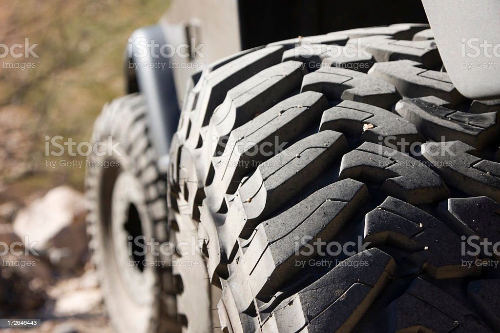 Close up of large 4x4 or army buggy tire royalty-free stock photo