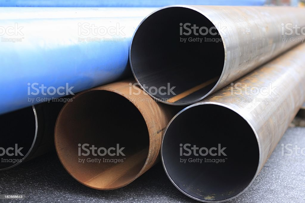 close up of large steel tubes stock photo