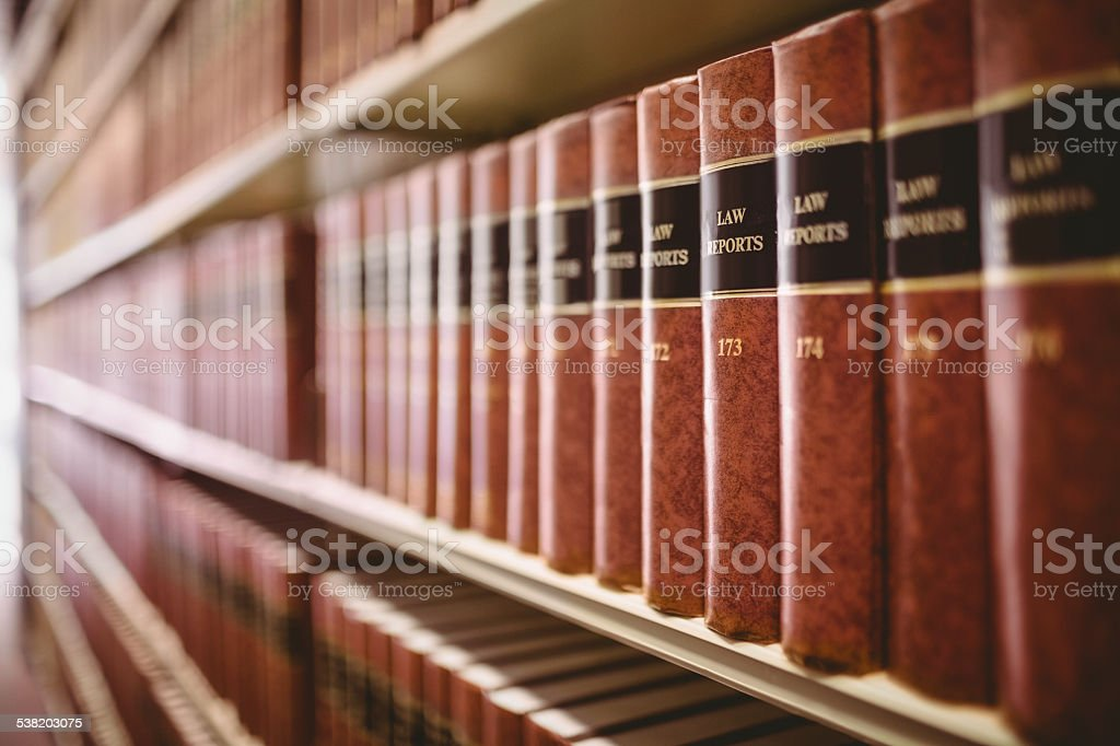 Close up of law reports stock photo