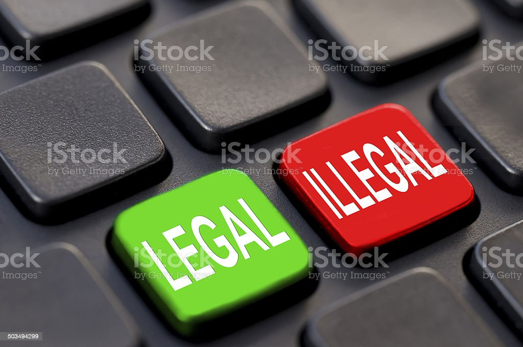 Close up of legal and illegal keys on a computer stock photo