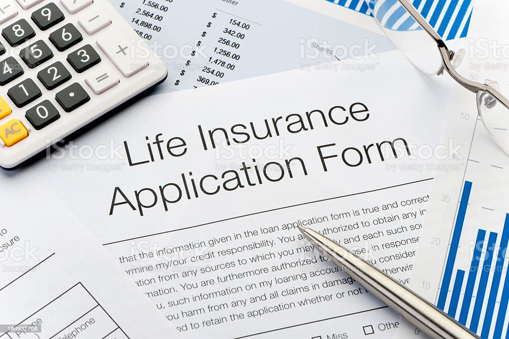 Close up of Life Insurance Application Form royalty-free stock photo