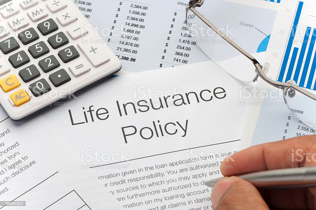 Close up of Life Insurance Policy stock photo