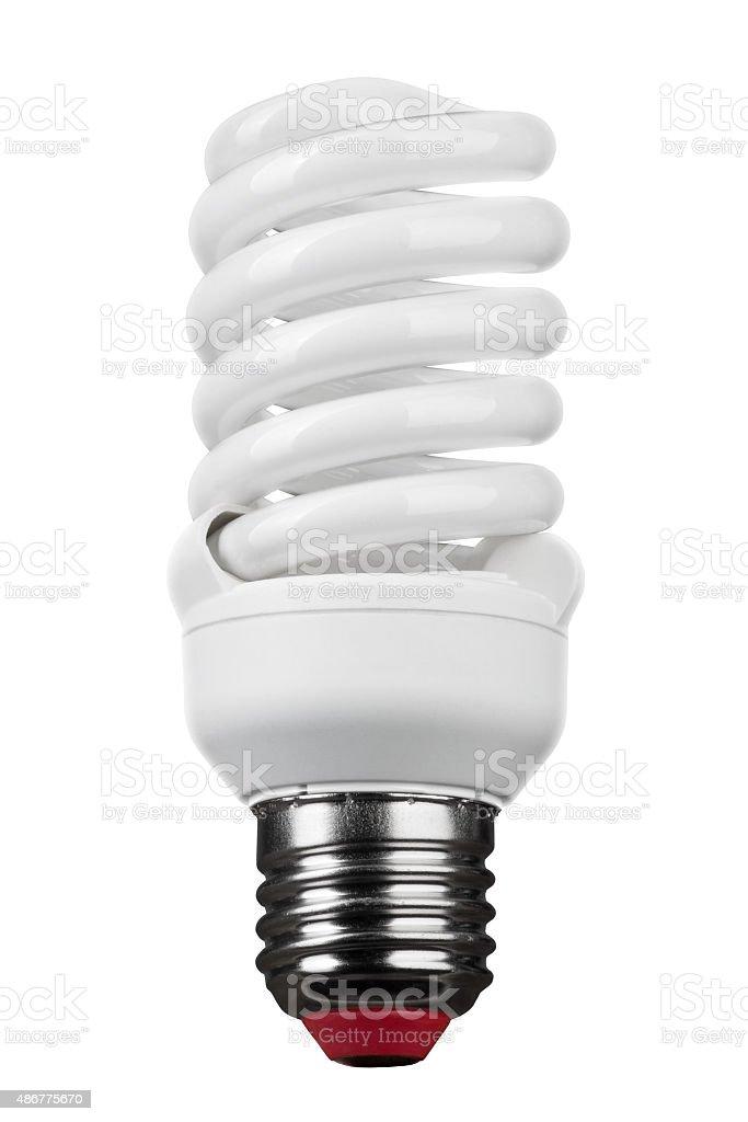 close up of light bulb on white background stock photo