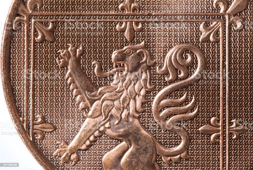 Close up of Lion Rampant on 2 pence coin. royalty-free stock photo