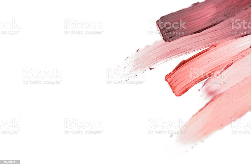 close up of lipstick smear sample stock photo