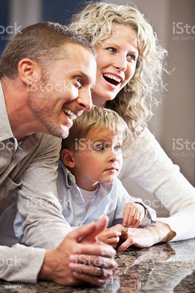 Close up of little boy with his parents stock photo