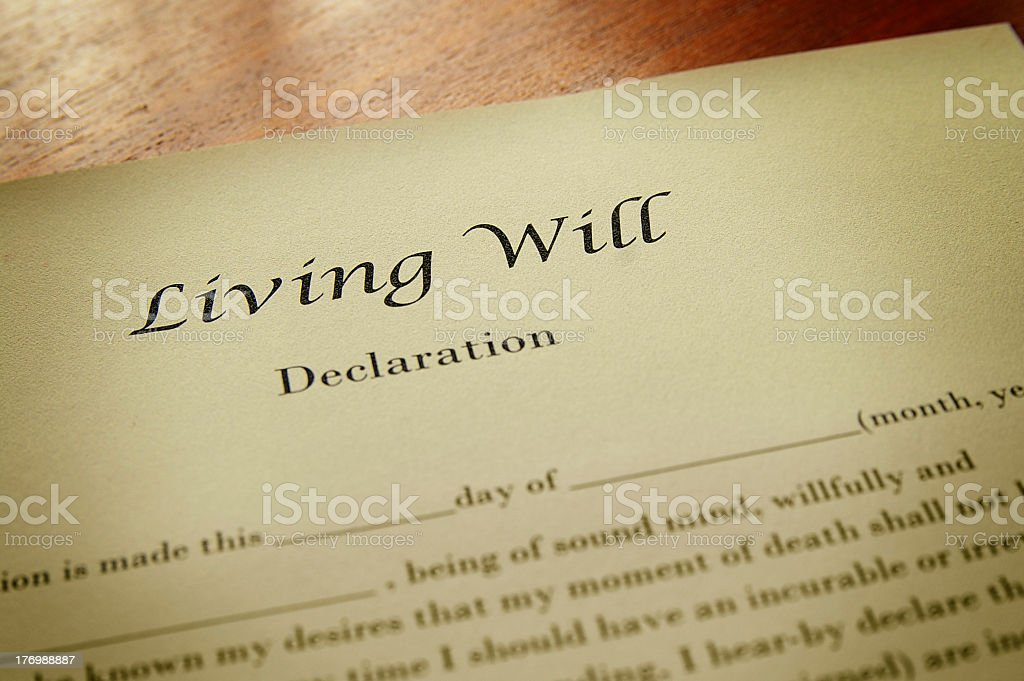 Close up of living will template stock photo