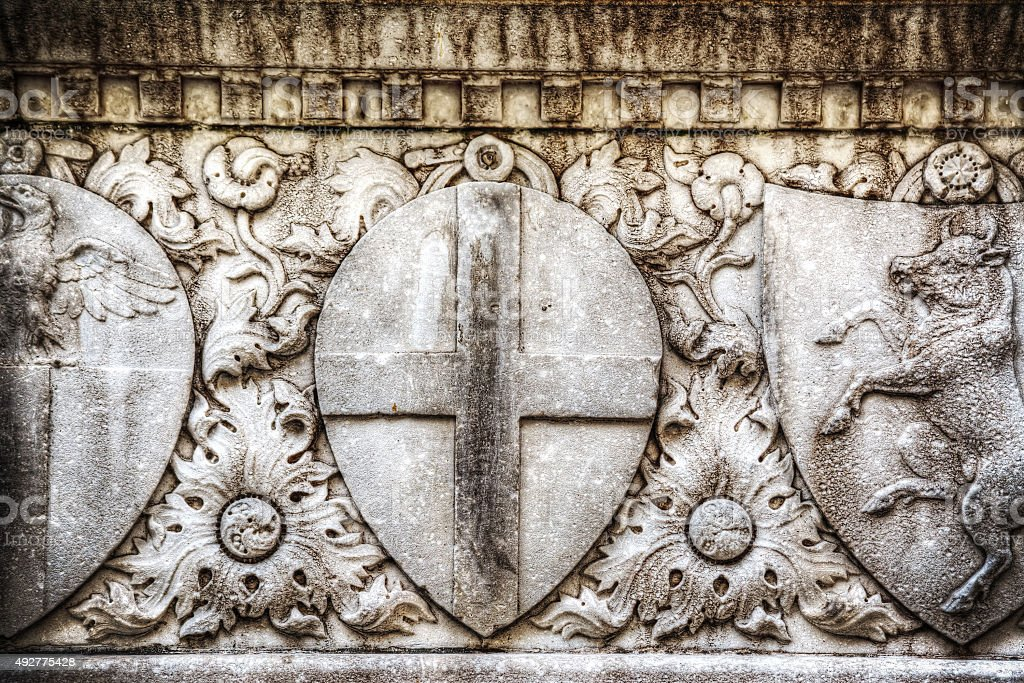 close up of low relief in Santa Croce stock photo