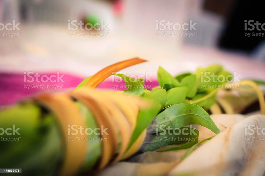 Close up of lulav lying on a table stock photo