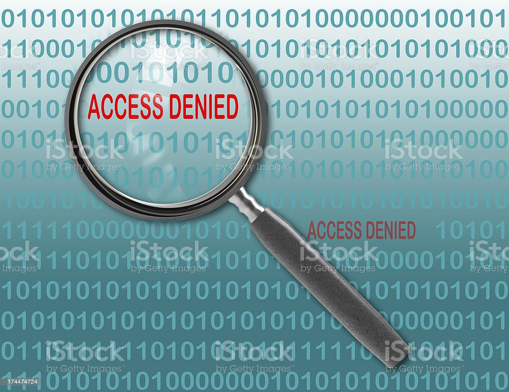 Close up of magnifying glass on access denied royalty-free stock photo