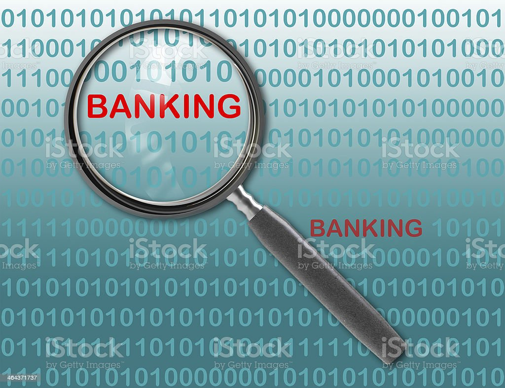 Close up of magnifying glass on banking royalty-free stock photo
