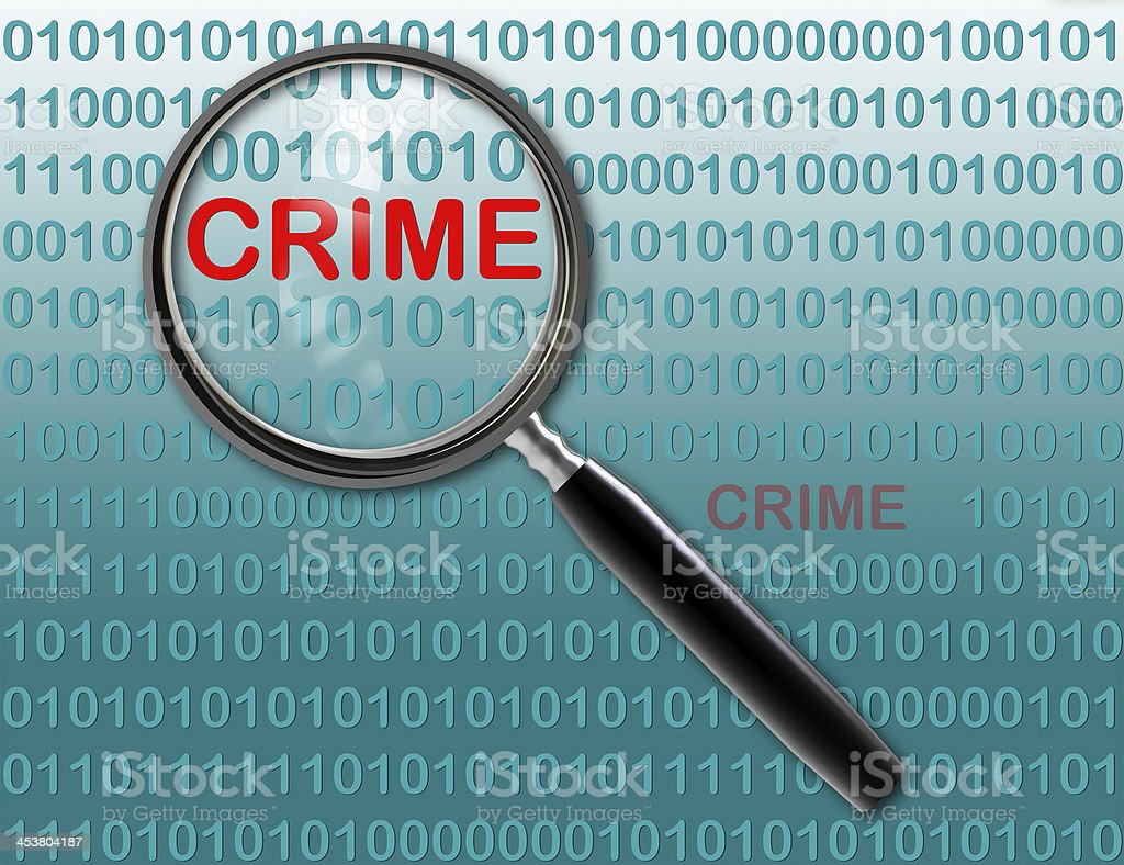 Close up of magnifying glass on crime stock photo