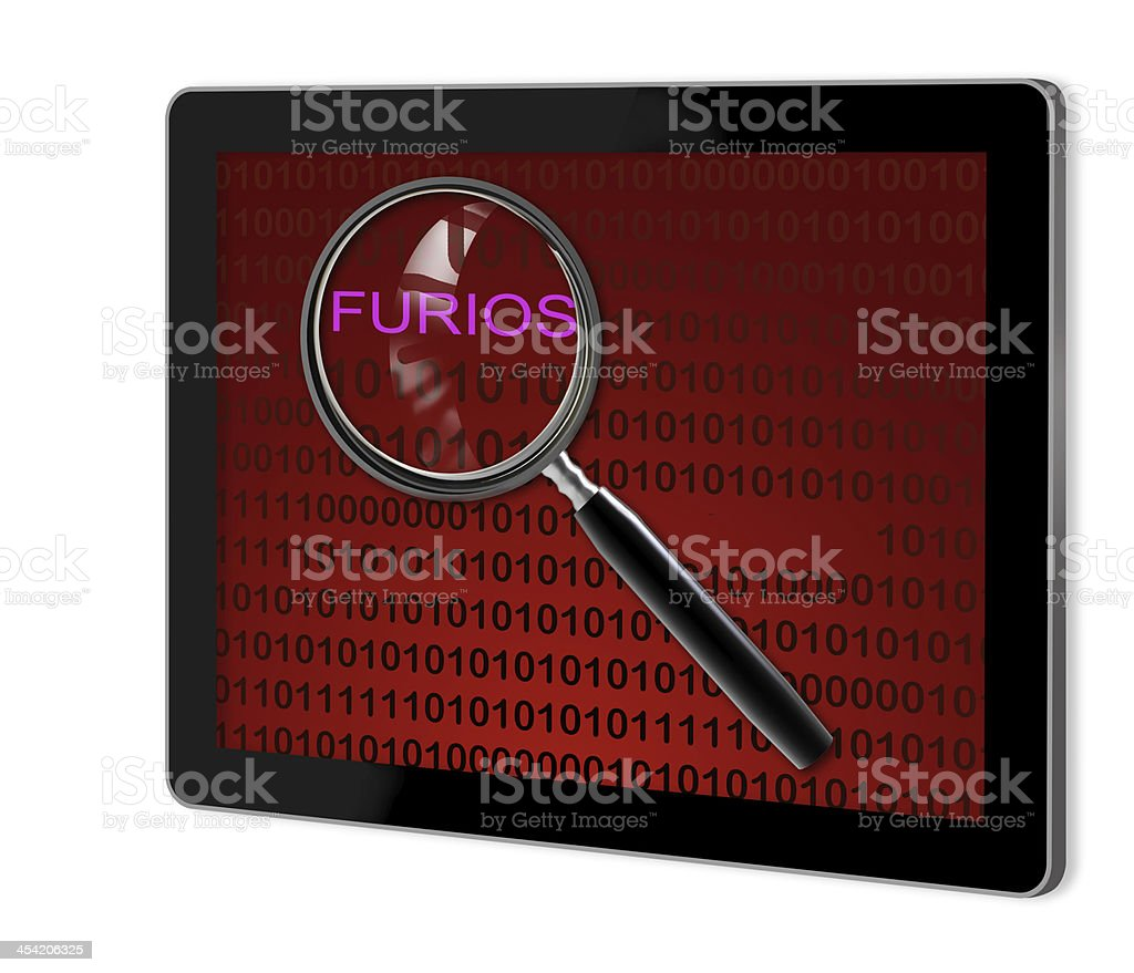 close up of magnifying glass on furios stock photo
