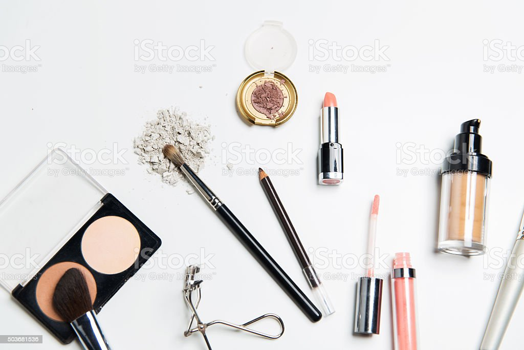 close up of makeup stuff stock photo