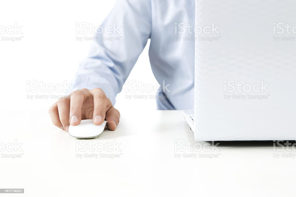 Close up of male hand working on a laptop stock photo