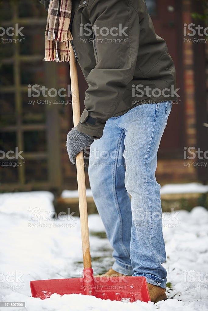 Close Up Of Man Clearing Snow From Path royalty-free stock photo